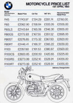 BMW Price List April 1983