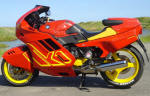 BMW K1 in red and yellow